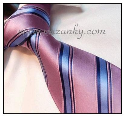 Kravata - vázanka Růžová s modrými pruhy