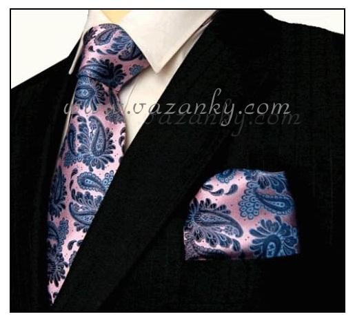 Kravata - vázanka Růžová s modrým vzorem