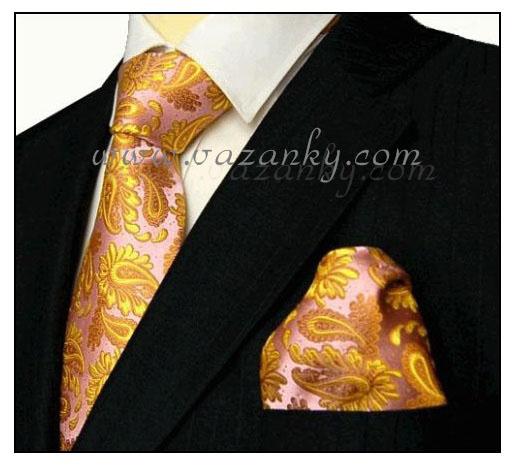 Kravata - vázanka Růžová se zlatým vzorem