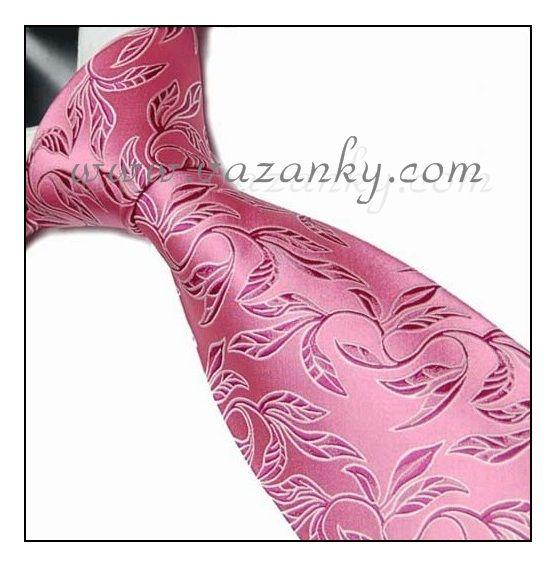 Kravata - vázanka Růžová s růžovým vzorem