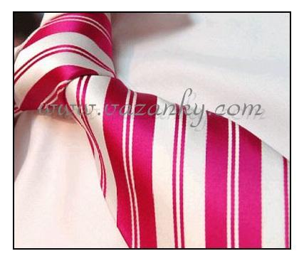 Kravata - vázanka Růžová dvojpruhá